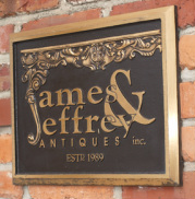 James & Jeffrey Antiques Bronze Landmark Sign